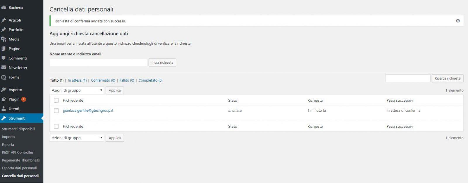 Pagina per la cancellazione dei dati personali in WordPress 4.9.6.