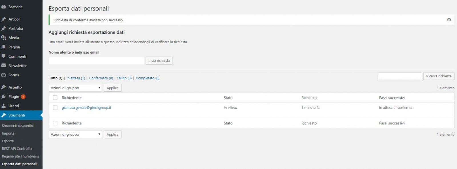 Pagina per l'esportazione dei dati personali in WordPress 4.9.6.