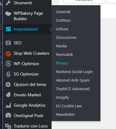 Impostazioni Privacy WordPress