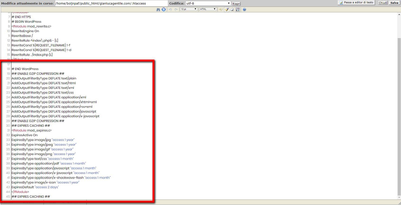 Ecco come sarà il tuo file dopo le modifiche al file htaccess per velocizzare wordpress