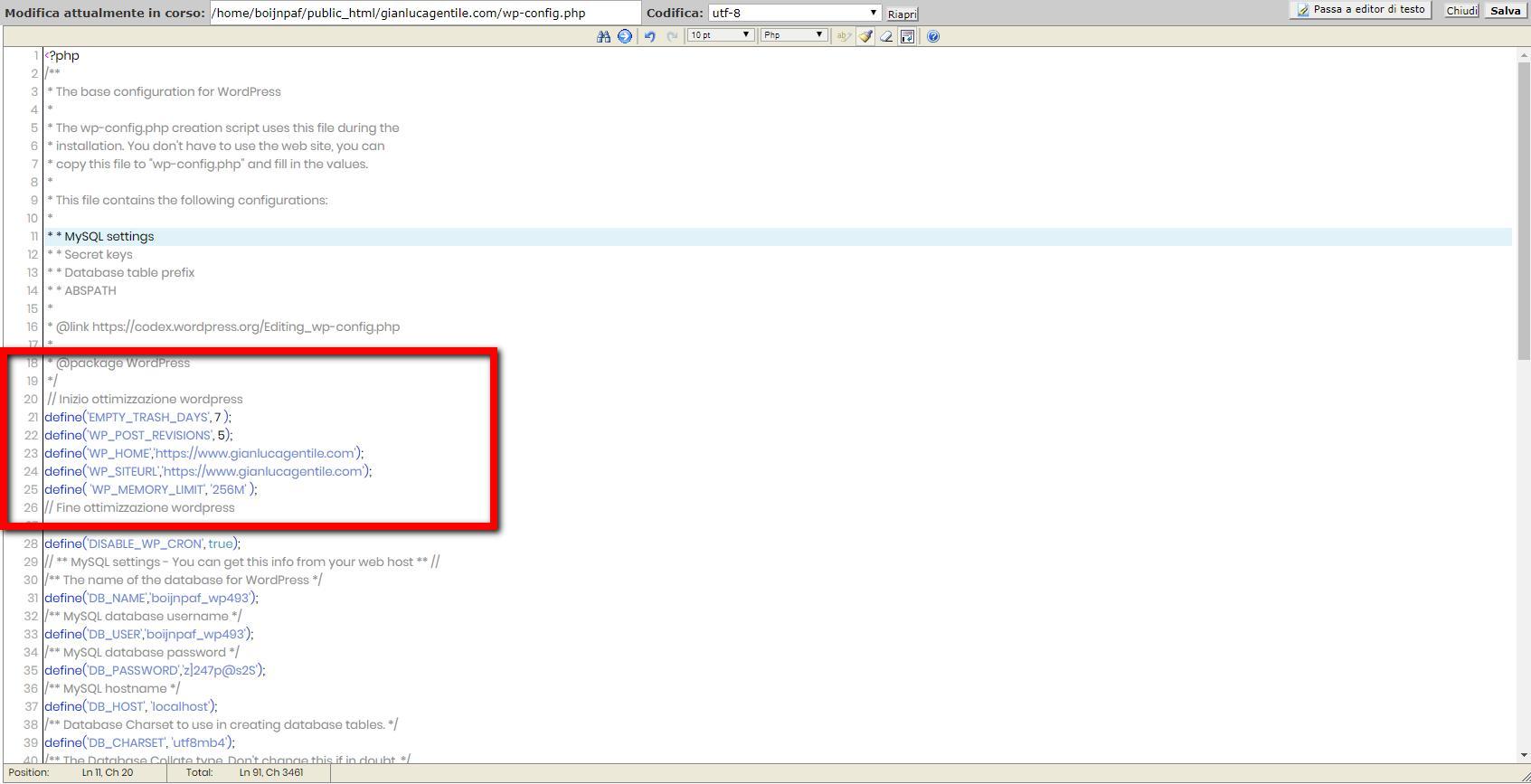 Risultato della modifica al file wp-config per velocizzare wordpress