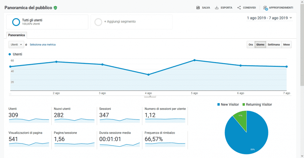 Google Analytics - Panoramica Pubblico