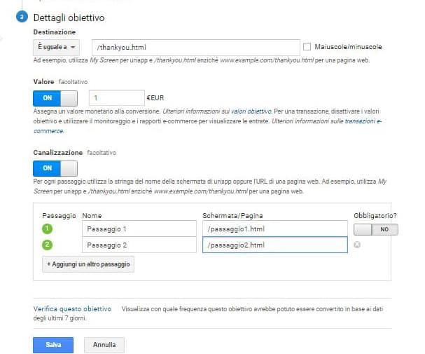 google analytics - dettagli obiettivo